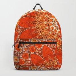 Detailed Orange Boho Mandala Backpack