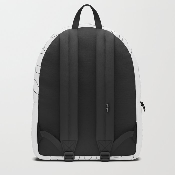 Line Art Monstera Leaves Rucksack