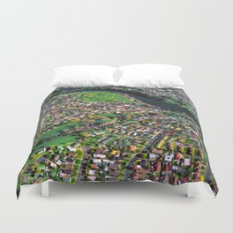 Hamilton City, New Zealand - Aerial view  Duvet Cover