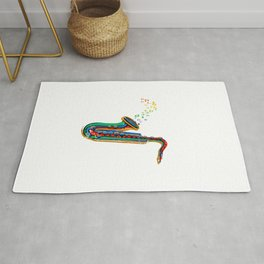 Colorful Music Notes From Saxophone Rug