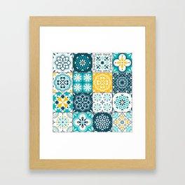 Tile Pattern Teal Yellow Framed Art Print