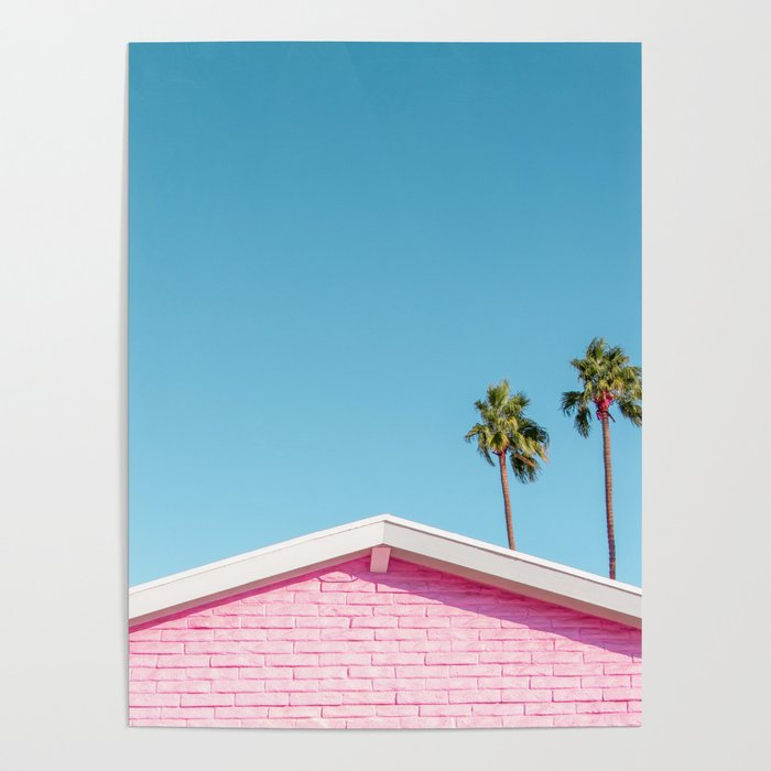Pink House Roofline with Palm Trees (Palm Springs) Poster