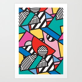 Colorful Memphis Modern Geometric Shapes - Tribal Kente African Aztec Art Print