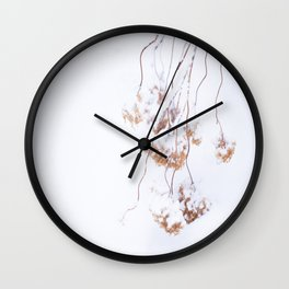 Snowy Hydrangea On A Snow Background #decor #society6 Wall Clock