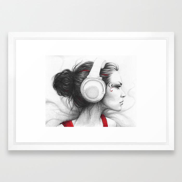 MUSIC  EVERYTHING Skeleton Girl with Headphones Art Tote bag