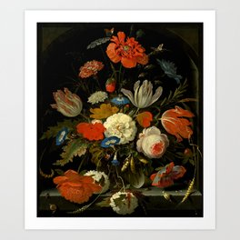 "Abraham Mignon ""Flowers in a glass vase, with snails and insects, in a niche"" Art Print"