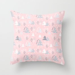 Pretty Pink Grey Christmas Tree Pattern Throw Pillow