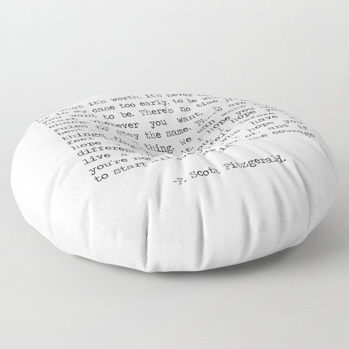 Life quote F. Scott Fitzgerald Floor Pillow