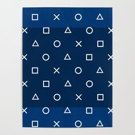 Gamepad Symbols Pattern - Navy Blue Poster
