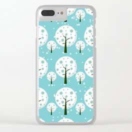 White trees  repeating pattern design Clear iPhone Case