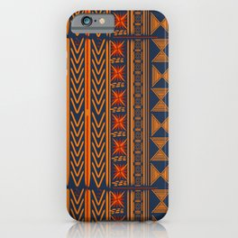 Boho Mudcloth (Blue, Gold, Persimmon) iPhone Case