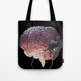 Human Brain With Head Phones Tote Bag