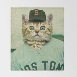 Baseball Kitten #3 Throw Blanket
