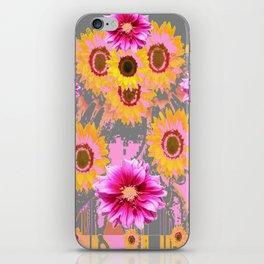 YELLOW SUNFLOWERS & PURPLE DAHLIAS GREY ABSTRACT iPhone Skin