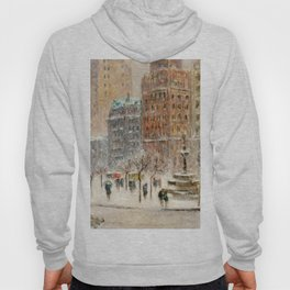 Winter at the Plaza, New York City landscape by Guy Carleton Wiggins Hoody