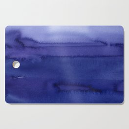 Blue Violet Watercolor Horizontal Stripes Abstract Cutting Board