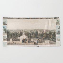Vintage Pictorial Map of Washington DC (1849) Beach Towel