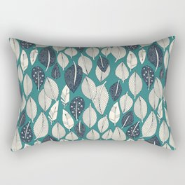 leaves and feathers teal Rectangular Pillow