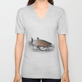 Migrating Steelhead Trout Unisex V-Neck