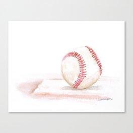 Baseball Watercolor Canvas Print