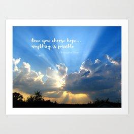 Divine Light Bursting Through Clouds Hope Art Print