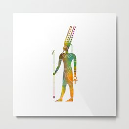 Egyptian god amun in watercolor Metal Print