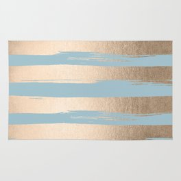 Painted Stripes Gold Tropical Ocean Sea Blue Rug