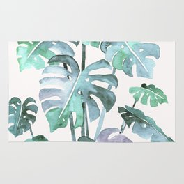 Delicate Monstera Blue And Green #society6 Rug