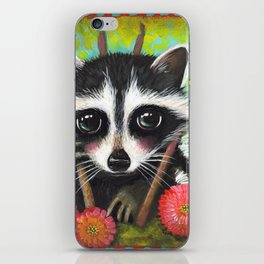 Racoon with Zinnias by Robynne iPhone Skin