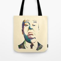 hitchcock Tote Bags featuring Hitchcock by totemxtotem