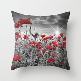 Idyllic Field of Poppies with Sun Throw Pillow