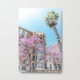 Barcelona City, Pink Trees Spring, Travel Print, Urban Architecture Print, Nature Photography, Spring Wall Art Print Metal Print