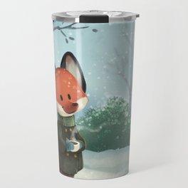 Fox in Winter Travel Mug