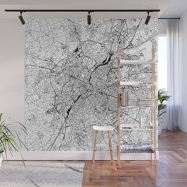 Brussels White Map Wall Mural