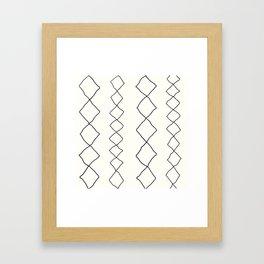Moroccan Diamond Stripe in Black and White Framed Art Print