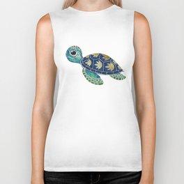 Cute Blue Sea Turtle Biker Tank