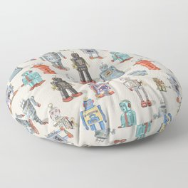 Vintage Style Robot Collection Floor Pillow