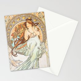 The Arts Music by Alphonse Mucha Stationery Cards
