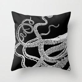 Kraken White and Black Throw Pillow