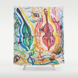 double bass party Shower Curtain