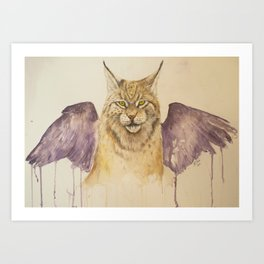 Lynx with wings Art Print
