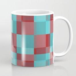 Squares Retro Style red blue Coffee Mug