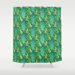 Art Nouveau Peacock Print, Cobalt Blue and Emerald Green Shower Curtain