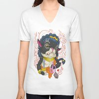 mew V-neck T-shirts featuring Fudo Mew by TaraQuinnTattoos