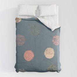 Falling Doodle Flowers Comforters