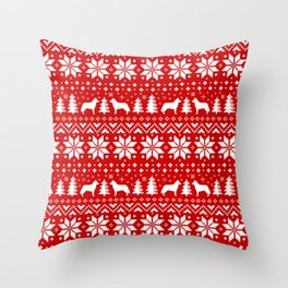 Siberian Husky Silhouettes Christmas Sweater Pattern Throw Pillow