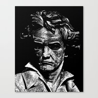 beethoven Canvas Prints featuring Beethoven by G_Stevenson