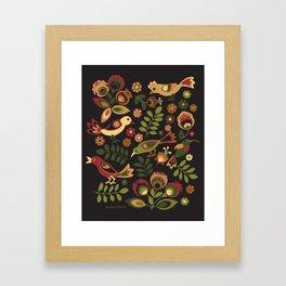 Folk Birds Framed Art Print