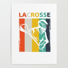 Retro Lacrosse Sports Team Player Lax Sticks Poster