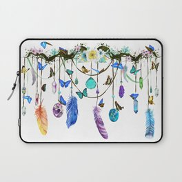 Folkestone Feather, Crystal And Butterfly Spirit Gazer Laptop Sleeve